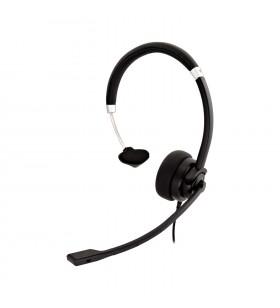 V7 HA401 cască audio & cască cu microfon Căști Bandă de fixare pe cap Negru, Argint