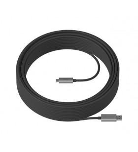 Logitech Strong cabluri USB 25 m 3.2 Gen 2 (3.1 Gen 2) USB A USB C Negru