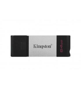 Kingston Technology DataTraveler 80 memorii flash USB 64 Giga Bites USB tip-C 3.2 Gen 1 (3.1 Gen 1) Negru, Argint