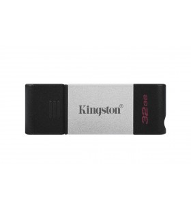 Kingston Technology DataTraveler 80 memorii flash USB 32 Giga Bites USB tip-C 3.2 Gen 1 (3.1 Gen 1) Negru, Argint