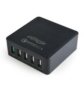 """ALIMENTATOR retea 220V GEMBIRD, universal, 5 x USB (1 x USB Quick Charge 3.0 si 4 x USB), negru, """"EG-UQC3-02"""""""