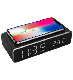 "CEAS digital + ALIMENTATOR wireless GEMBIRD, display LCD ora/data/alarma/temperatura, black, ""DAC-WPC-01"""