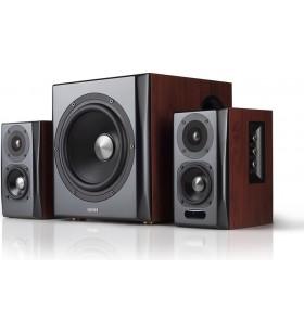 "BOXE EDIFIER 2.1, RMS: 150W (2 x 25W, 2 x 15W, 1 x 70W), bluetooth telecomanda wireless, volum, bass, treble, optical, brown, """