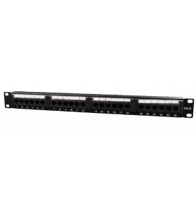 "PATCH PANEL GEMBIRD 24 porturi, Cat6, 1U pentru rack 19"", suport posterior pt. gestionare cabluri, black, ""NPP-C624CM-001"""