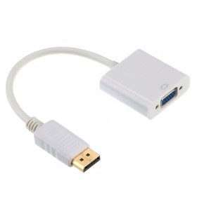 "CABLU video GEMBIRD, adaptor DisplayPort (T) la VGA (M), 10cm, rezolutie maxima Full HD (1920 x 1080) la 60Hz, alb, ""A-DPM-VGAF"