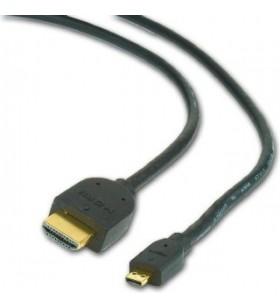 """CABLU video GEMBIRD, adaptor HDMI (T) la Micro-HDMI (T), 1.8m, conectori auriti, negru, """"CC-HDMID-6"""""""
