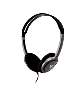 V7 HA310-2EP cască audio & cască cu microfon Căști Bandă de fixare pe cap Negru, Argint