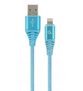 "CABLU USB2.0 la Lightning Apple  GEMBIRD  1m, (AM/LM), cotton braided premium, turquoise blue&ampwhite, ""CC-USB2B-AMLM-1M-VW"""