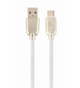 """CABLU USB2.0 la USB2.0 Type-C  GEMBIRD   1m, (AM/CM), premium rubber, white, """"CC-USB2R-AMCM-1M-W"""""""