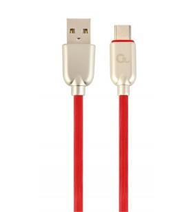 """CABLU USB2.0 la USB2.0 Type-C GEMBIRD   1m, (AM/CM), premium rubber, red, """"CC-USB2R-AMCM-1M-R"""""""