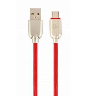 """CABLU USB2.0 la USB2.0 Type-C GEMBIRD   2m, (AM/CM), premium rubber, red, """"CC-USB2R-AMCM-2M-R"""""""