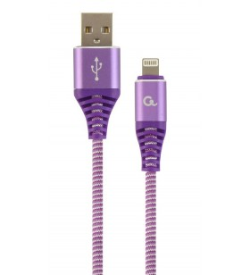 "Premium cotton braided 8-pin charging and data cable, 2 m, purple/white ""CC-USB2B-AMLM-2M-PW"""