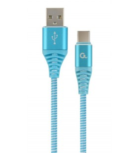 "Premium cotton braided Type-C USB charging and data cable, 1 m, turquoise blue/white ""CC-USB2B-AMCM-1M-VW"""