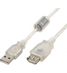 "Premium quality USB 2.0 extension cable, 10 ft, transparent ""CCF-USB2-AMAF-TR-10"""