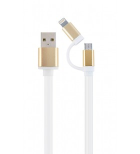 "USB charging combo cable, 1 m, White cord, Gold connector ""CC-USB2-AM8PmB-1M-GD"""