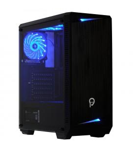 "CARCASA SPACER Middle-Tower ATX, fara sursa, H3x@, side window, 6* 120mm BLUE LED fan instalate, I/O panel, Black ""SP-GC-04"""