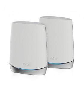 Netgear Orbi WiFi6 router wireless Tri-band (2.4 GHz   5 GHz   5 GHz) Gigabit Ethernet Din oţel inoxidabil, Alb