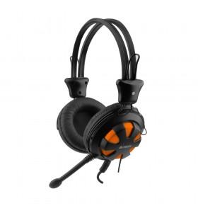 """CASTI A4TECH cu microfon  pe fir, Comfortfit, control volum pe casca, orange """"HS-28-3"""" (include timbru verde 0.5 lei)"""