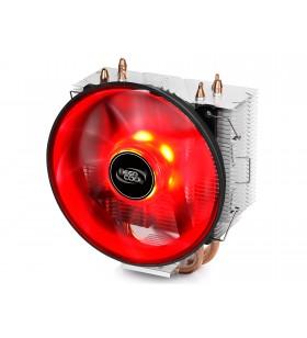 """COOLER DeepCool CPU universal, soc LGA115x/775 &amp FMx/AMx, Al+Cu, 3x heatpipe, red LED fan 120x25mm, 130W ''GAMMAXX 300R"""""""
