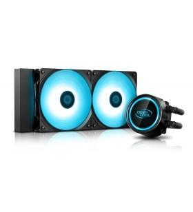 COOLER DeepCool CPU universal. cu LICHID. soc LGA2011(3)/1366/115x &amp FMx/AM4/AM3x/AM2x, AL+Cu+lichid, 2x 120 blue LED fans, 2