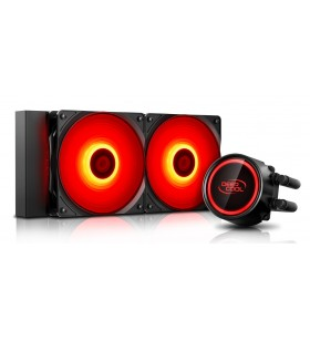 COOLER DeepCool CPU universal. cu LICHID. soc LGA2011(3)/1366/115x &amp FMx/AM4/AM3x/AM2x, AL+Cu+lichid, 2x 120 red LED fans, 20