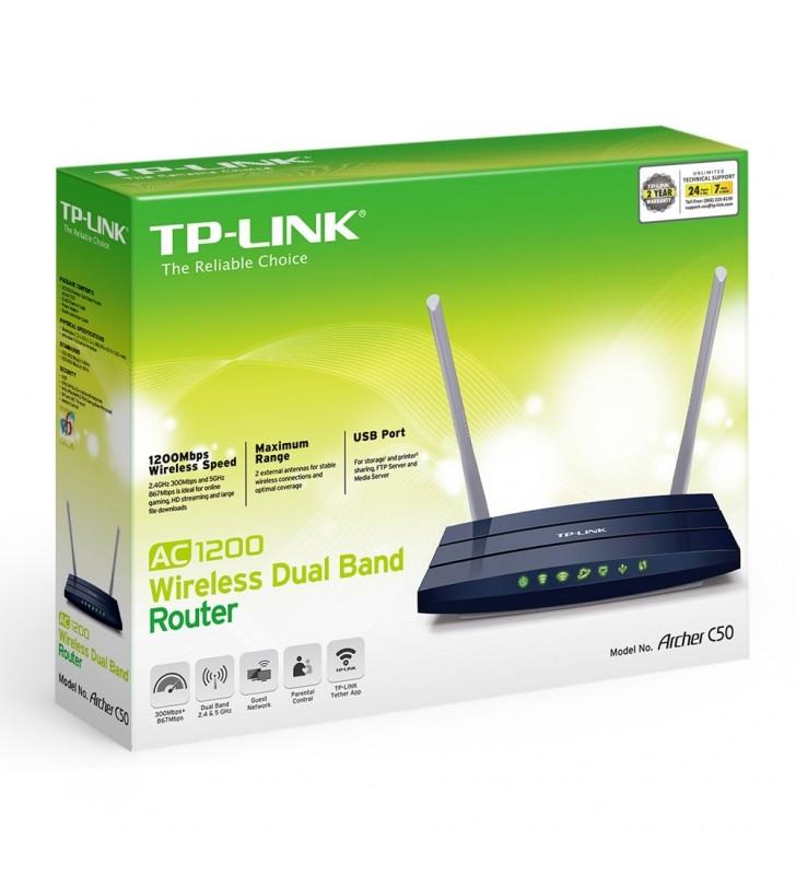TP-LINK Archer C50 V1 router wireless Bandă dublă (2.4 GHz  5 GHz) Fast Ethernet Negru
