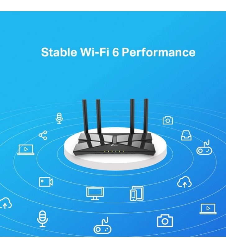 TP-LINK Archer AX10 router wireless Bandă dublă (2.4 GHz  5 GHz) Gigabit Ethernet Negru