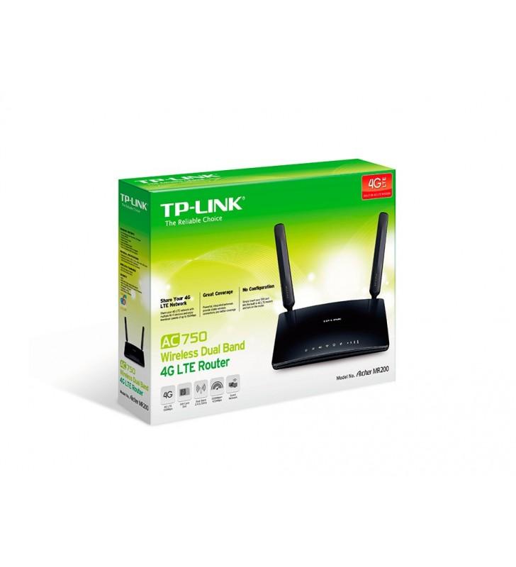 TP-LINK Archer MR200 router wireless Bandă dublă (2.4 GHz  5 GHz) Fast Ethernet 3G 4G Negru