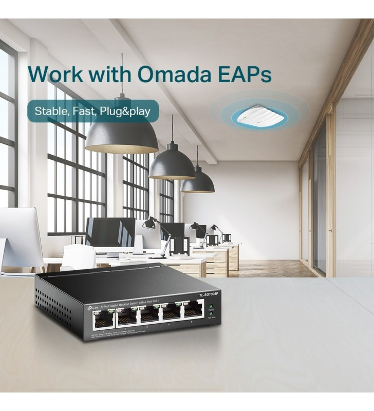 TP-LINK TL-SG1005P switch-uri Fara management Gigabit Ethernet (10 100 1000) Negru Power over Ethernet (PoE) Suport