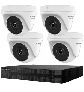 "KIT SUPRAVEGHERE HIKVISION  tehnologie Turbo HD, 4 camere dome HWT-T140 + 1 DVR 4 canale HWD-6104MH-G2 +  1TB HDD ""HWK-T4144TH-"