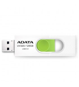 "USB Flash Drive ADATA 32Gb, UV320, USB3.2, alb/verde ""AUV320-32G-RWHGN"""