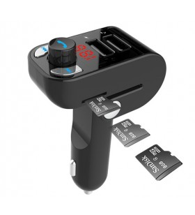 "3-in-1 Bluetooth carkit with FM-radio transmitter and USB 3.1 A charger, black ""BTT-02"""