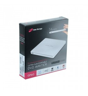 Ultra Slim Portable DVD-R White Hitachi-LG GP60NW60.AUAE12W, GP60NW60 Series, DVD Write /Read Speed: 8x, CD Write/Read Speed: 24