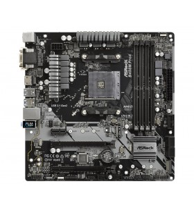 Placa de baza ASROCK AMD B450M PRO4, B450M PRO4, 4 DIMM, Max. 64GB, DDR4 2667/2400/2133 ECC &amp non-ECC Un-buffered Memory, 1x