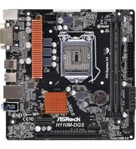 Placa de baza ASROCK skt. LGA1151, H110M-DGS R3.0, 2* DDR4 DIMM Slots, DDR4 2133 non-ECC, PCIE x1, LAN 10/100/1000, 1* PCI E 3.0