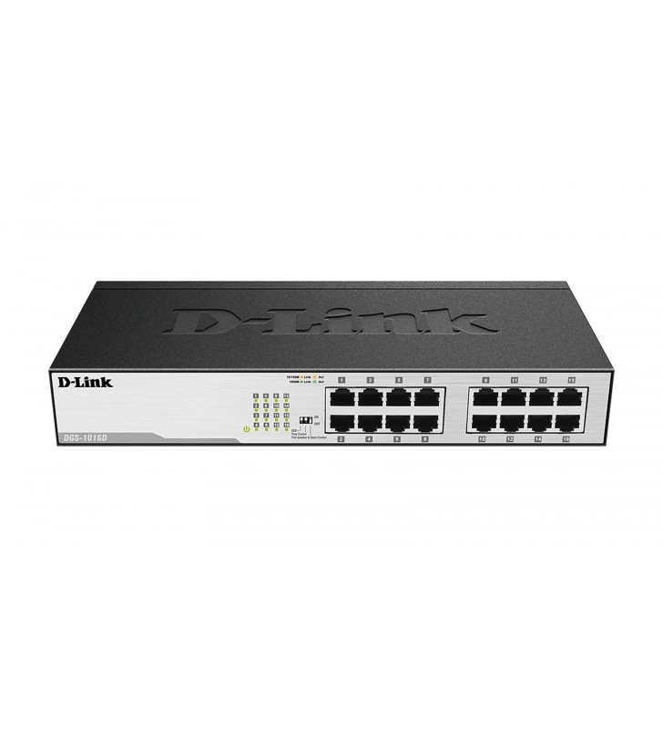 D-Link DGS-1016D switch-uri Fara management Gigabit Ethernet (10 100 1000) Negru, Argint 1U