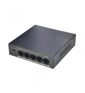 Dahua Europe PFS3005-4P-58 switch-uri Fara management L2 Fast Ethernet (10 100) Negru Power over Ethernet (PoE) Suport