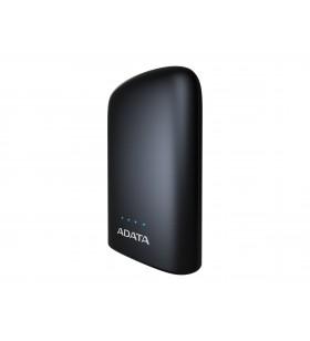 """POWER BANK ADATA 10050mAh, 2 x USB, 4 x LED pt. status baterie, P10050V 10.050 mAh, total 2.4A, lanterna LED, black """"AP10050V-D"""