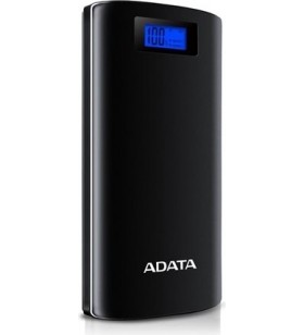 "POWER BANK ADATA 20000mAh, 2 x USB, digital display pt. status baterie, P20000D 20.000 mAh, total 2.1A, black, ""AP20000D-DGT-5V"