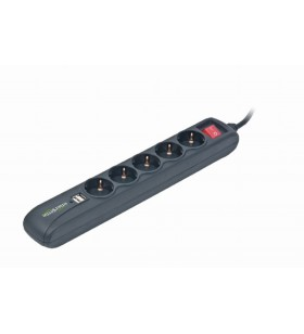 "Power strip with USB charger, 5 sockets, 1.5 m, USB 2A, black ""SPG5-U2-5"""