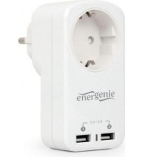 "PRIZA GEMBIRD  1 x priza Schuko 10A, 2 x USB charger port 5V max. 2.1A, white, ""EG-ACU2-01-W"""
