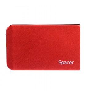 "RACK EXTERN SPACER 2.5"" HDD S-ATA to USB 3.0, Aluminiu, Rosu, ""SPR-25611R"""
