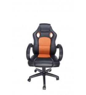 """SCAUN GAMING SPACER imitatie piele &amp material textil, black &amp orange, greutate max. 120kg, dimensiuni 5970106~114cm """"SP-G"""