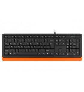 "TASTATURA A4Tech Fstyler USB, 104 taste, cablu 1.5m, orange, ""FK10 Orange"" (include timbru verde 0.5 lei)"