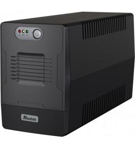 UPS MUSTEK Line Int.  fara management,  1000VA/ 600W, AVR, 4 x socket Schuko, indicatie status cu LED, 2 x baterie 12V/7Ah, Back