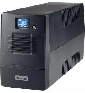 UPS MUSTEK Line Int. cu management, LCD,   600VA/ 360W, AVR, 4 x socket IEC, display LCD, 1 x baterie 12V/7Ah, Backup: 16 min.,