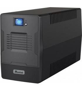 UPS MUSTEK Line Int. cu management, LCD,  2000VA/ 1200W, AVR, 2 x IEC &amp 2 x Shucko, display LCD, 2 x baterie 12V/9Ah, Backup