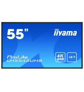 "iiyama LH5542UHS-B1 Afișaj Semne 138,7 cm (54.6"") IPS 4K Ultra HD Panou informare digital de perete Negru Procesor încorporat"