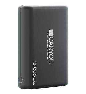 CANYON Power bank 10000mAh Li-poly battery, Input 5V/2.1A, Output 5V/2.1A(Max), with Smart IC, Black, 3in1 USB cable length 0.3m