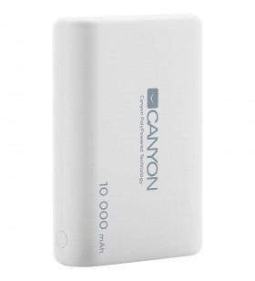 CANYON Power bank 10000mAh Li-poly battery, Input 5V/2.1A, Output 5V/2.1A(Max), with Smart IC, White, 3in1 USB cable length 0.3m